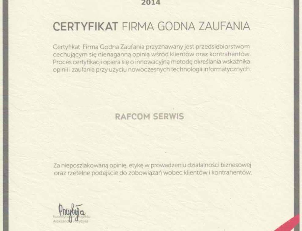 Firma Rafcom Serwis Katowice uhonorowana certyfikatem FIRMA GODNA ZAUFANIA