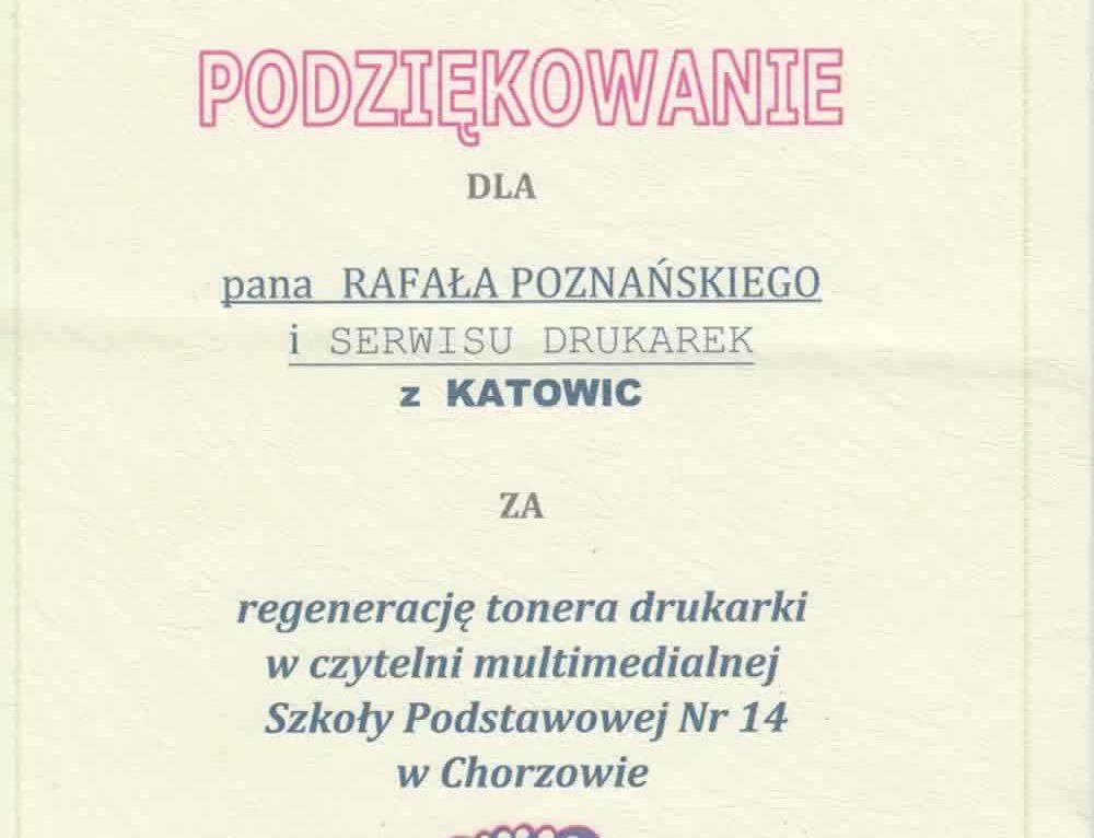 Podziękowania dla firmy Rafcom Rafał Poznański od Szkoły Podstawowej nr 14