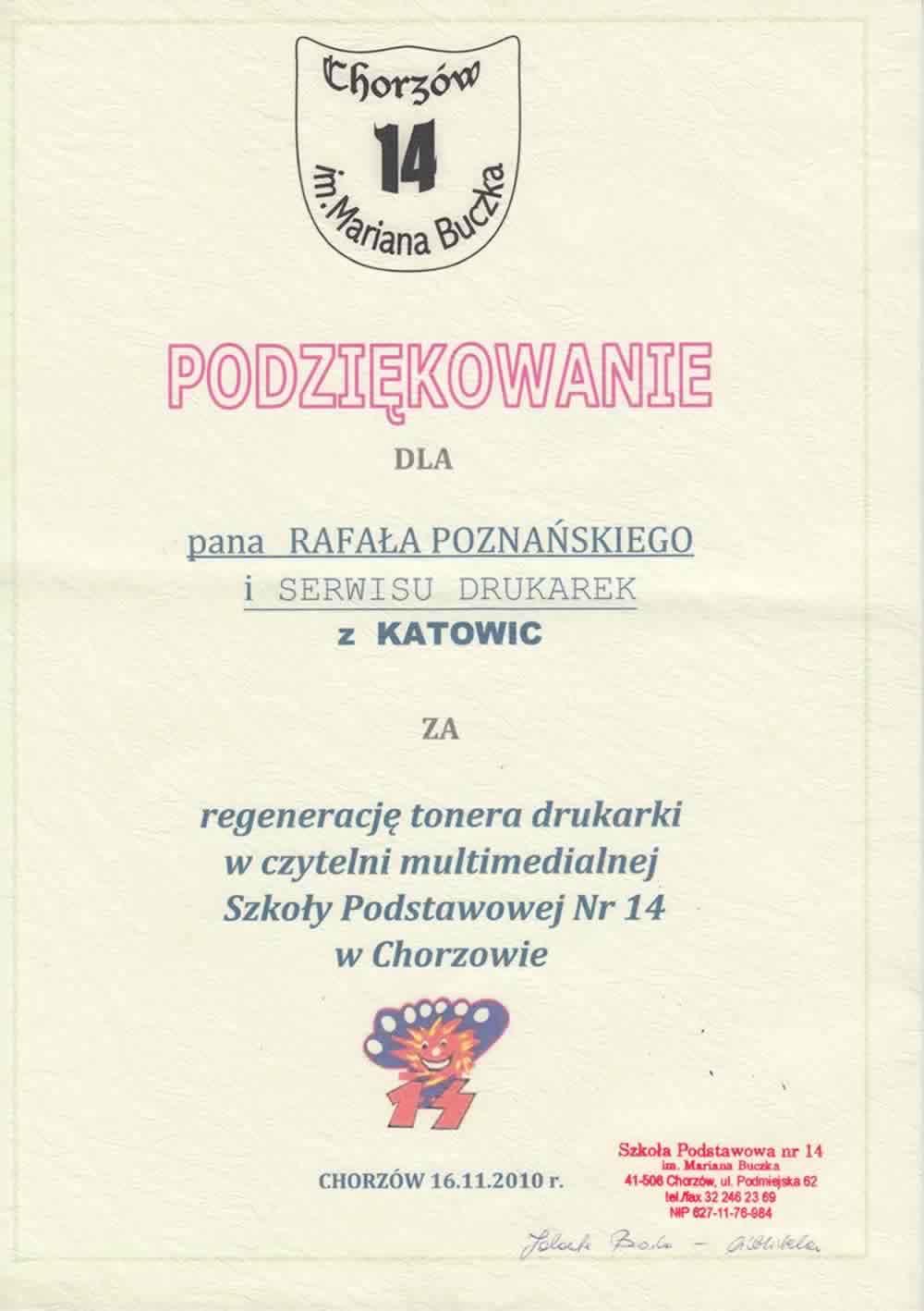 Podziękowanie dla Rafcom Katowice