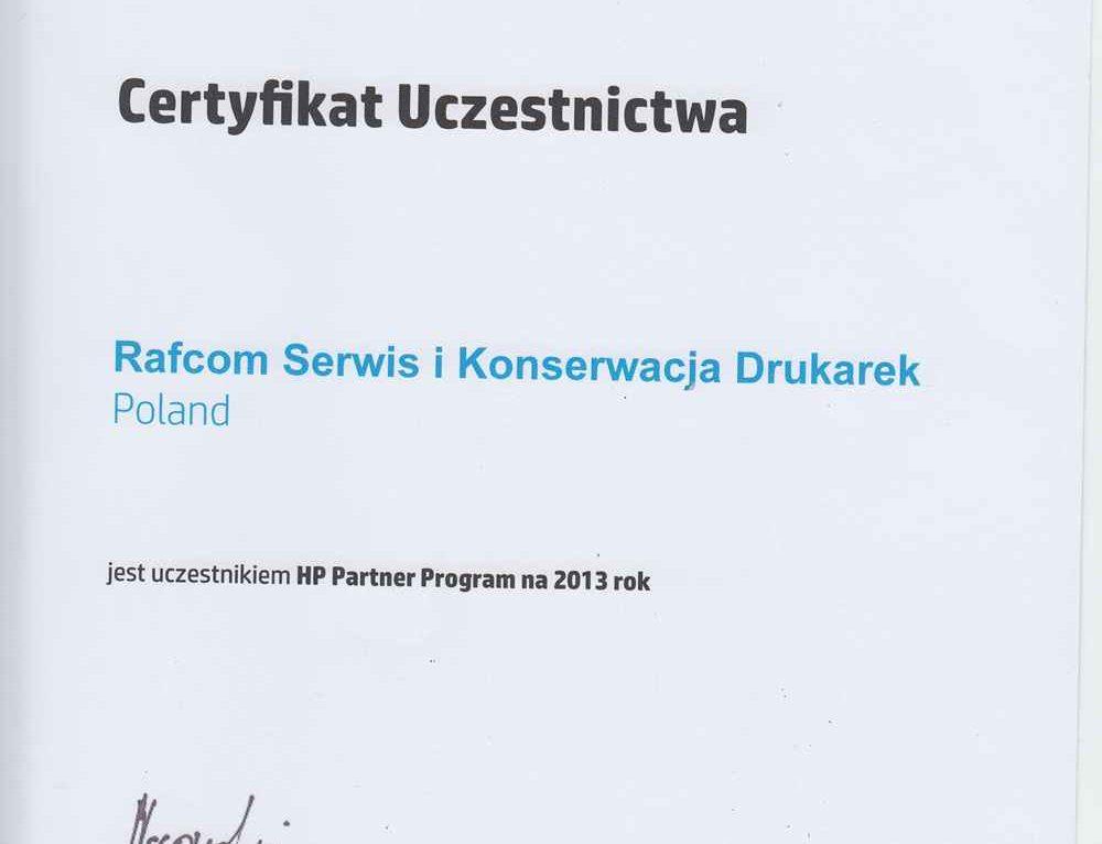 Firma Rafcom Serwis nawiązała została partnerem firmy HP Hewlett Packard