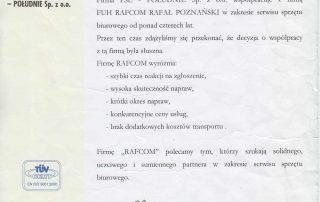 Polskie Sieci Elektroenergetyczne Południe Sp. z o.o. polecenie dla Rafcom Serwis Katowice