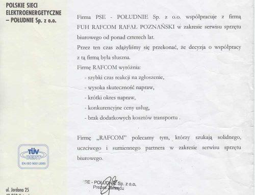 Współpraca Rafcom Serwis z PSE S.A.