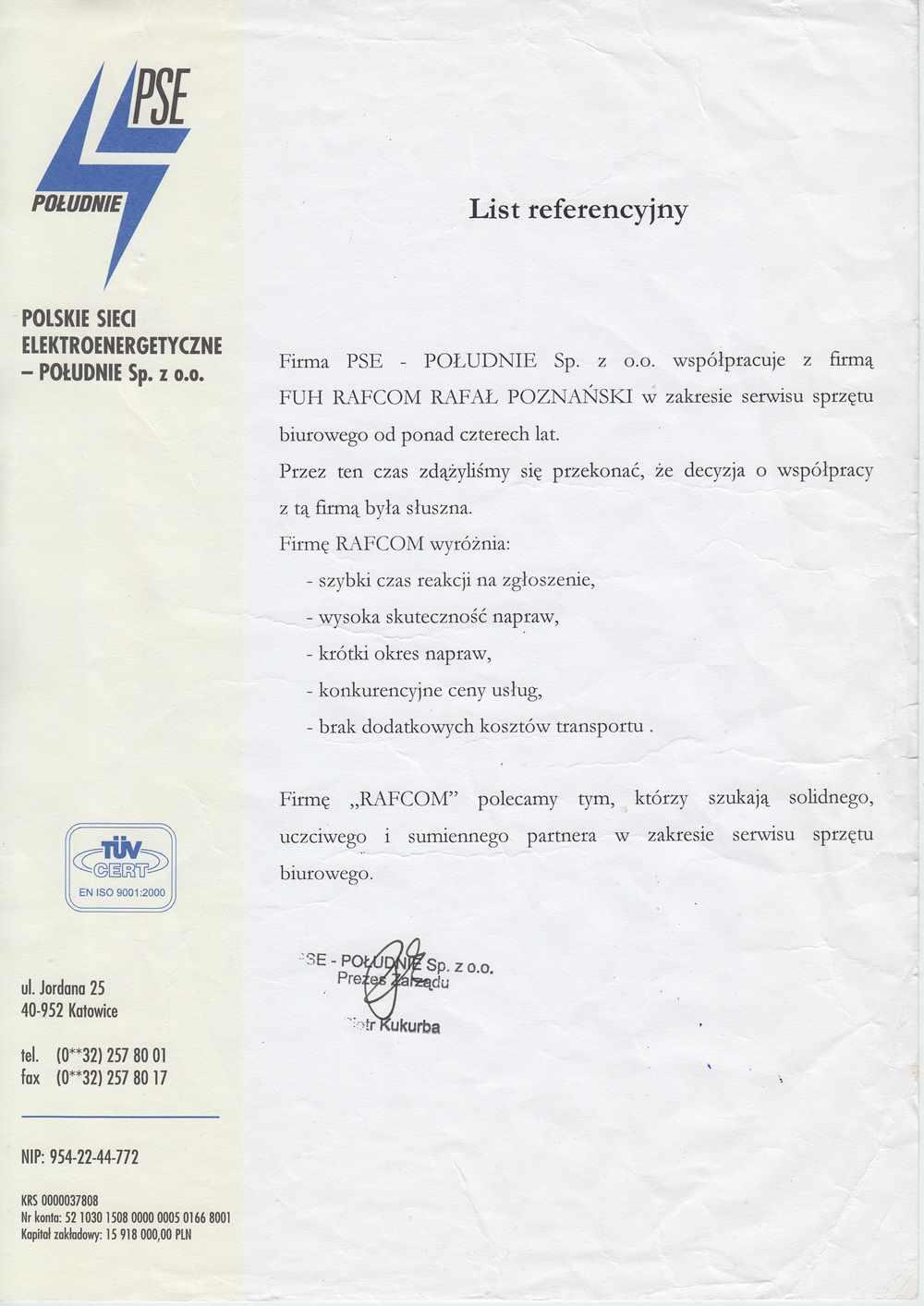 Rafcom Katowice List Referencyjny